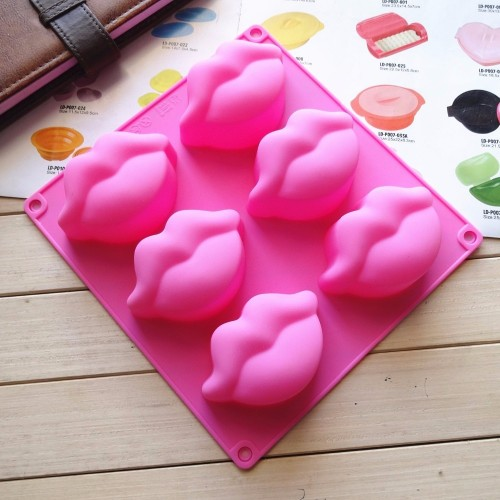 6pcs 3D Lip Shape Silicone Soap Mousse Cake Molds Wedding Cake Decorating Tools High Quality Candle