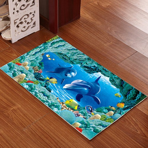 3D Printed Bathroom Memory Foam Rug Kit Non slip Bath Mats Floor Carpet Ped Pad Large