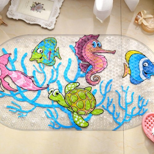 Cartoon Anti Slip  Bath Mat Cups Seaworld Turtle Fish Carpet Used For Bathroom