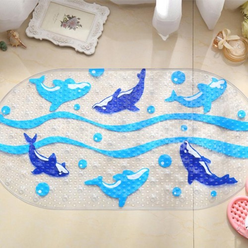 Cartoon Dolphin PVC Bath Mat Anti Slip Bath Mats Suitable For Car Bathroom Toilet Foyer Floor
