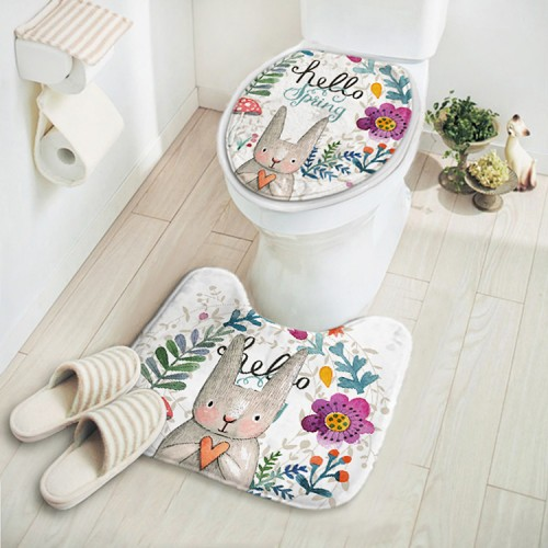 Cartoon Rabbit Animal Pattern Bathroom Set Carpet Absorbent Non Slip Pedestal Rug