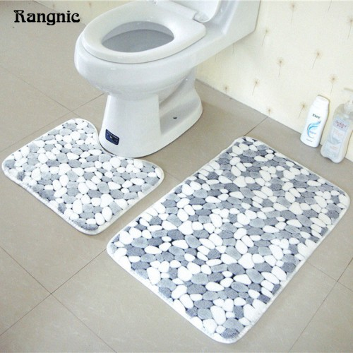 Coral Fleece Bathroom Memory Foam Rug Floor Bath Mats Set 2pcs Non Slip Toliet Water Absorption