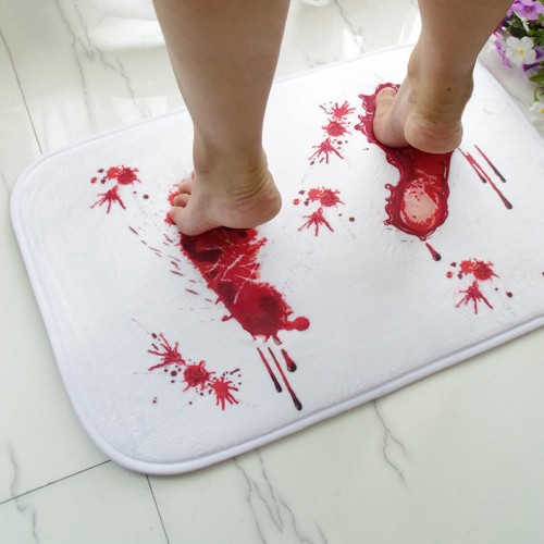 Creative Blood Footprints Bath Mat Horror Rug Toilet Carpet Suede Non Slip Absorbent Shower Bathroom Mat