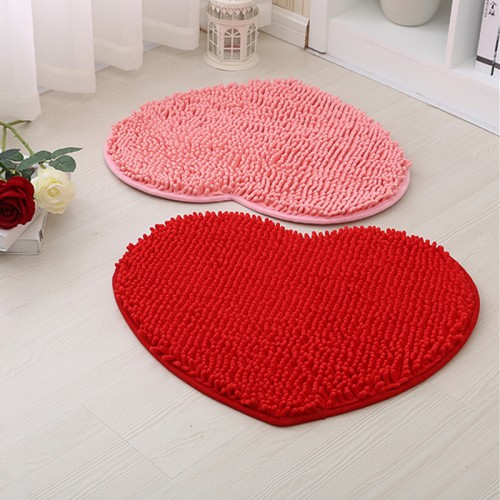 Heart Shape Non Slip Mat Bathroom Carpet Set