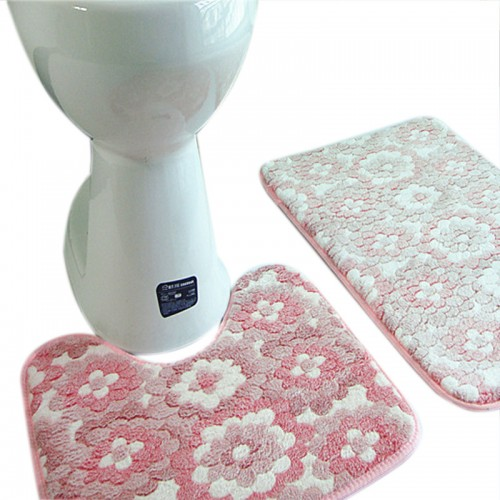 Thickened Bath Pedestal Mat Soft Luxuary Coral Mat