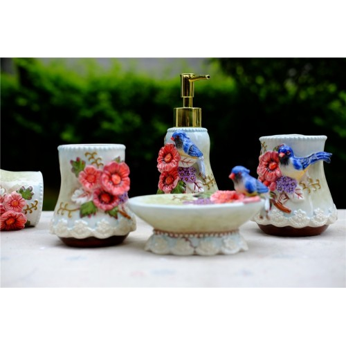 Magpie flowers ceramic toothbrush holder soap dish bathroom accessories set kit wedding home decor handicraft porcelain