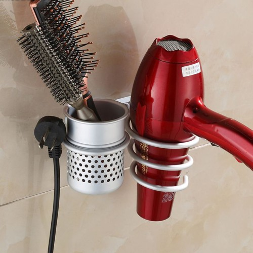 Multi function Bathroom Wall Mounted Hair Dryer Comb Rack Space Aluminum Shelf Storage Organizer Hairdryer Holder