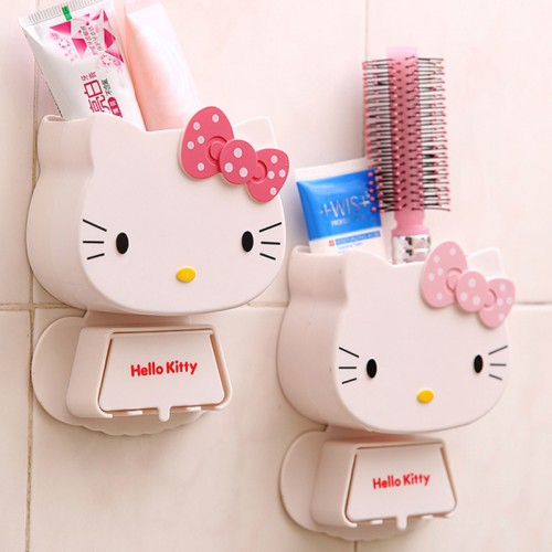 Multifunction Cartoon Toothbrush Holder Hello Kitty Storage Box Bathroom Accessories Paste Container