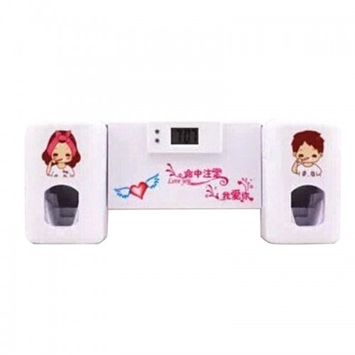 New Design 2 in 1 Automatic Toothpaste Dispenser Toothbrush Holder Home Decor Gadgets Accessories With Clock