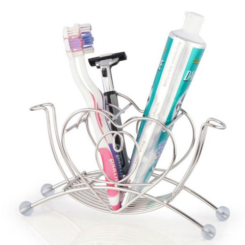 New Hot Sale Stainless Steel Heart Shaped Toothbrush Toothpaste Cup Holder Stand Tumbler Storage Rack Bathroom