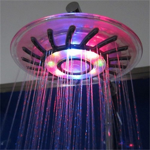 New Romantic 4 Mixed color Colorful LED Shower Head Bathroom Sprinkler Salle de bains douche Hot