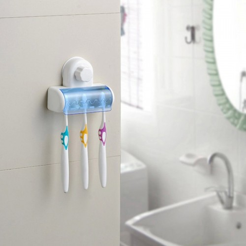 New Suction Cup Wall Mount Bathroom 5 Hooks Toothbrush SpinBrush Rack Stand Holder