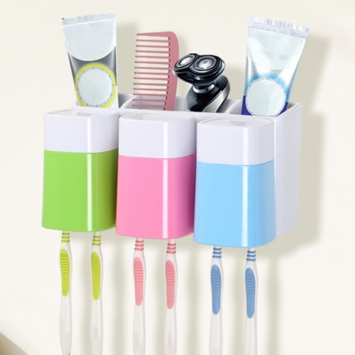 Newest Candy Color Creative Wall mounted Wash Kit Toothbrush Holder Gargle Cup Suction Cup Wash Storage
