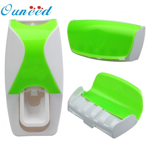 Ouneed Set Automatic Lazy Toothpaste Dispenser 5 Toothbrush Holder Wall Mount quality first DROP SHIP
