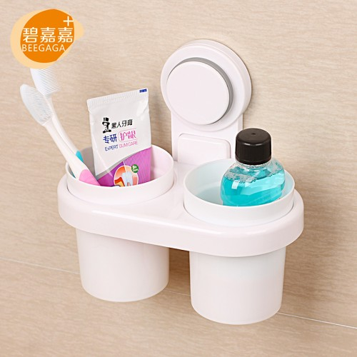 Powerful Suction Toothpaste Toothbrush Glass Holder with 2Pcs Plastic Tooth Cups Wall Mount Standing Storage