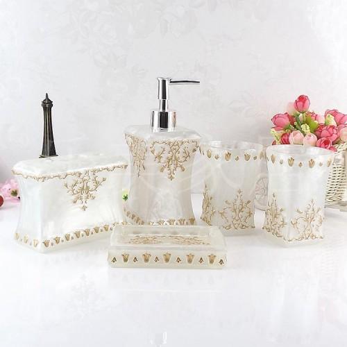 Resin bathroom five pieces set fashion bathroom supplies wash dental set