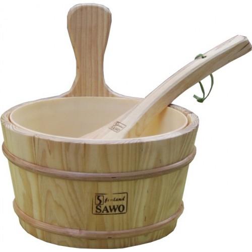 Sauna Room Accessories Wooden Bucket Ladle Plastic Insert