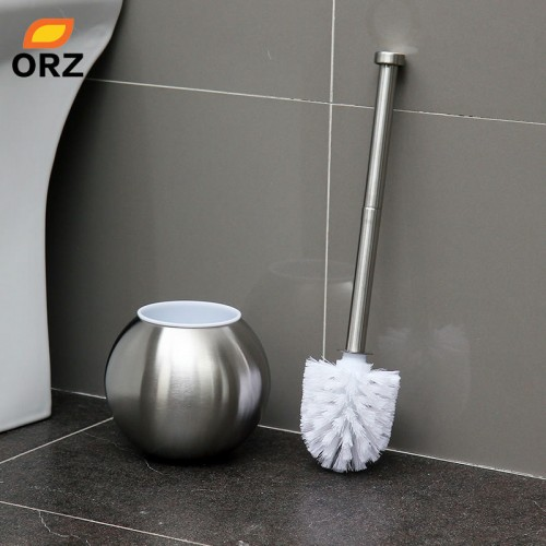 Spherical Stainless Steel Toilet Brush Holder Set Bathroom Clean Accessories WC Toilet Brush Kit