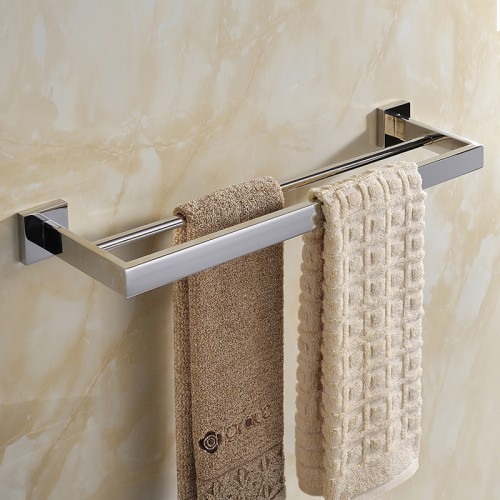 Stainless Steel Double Towel Bar Square Towel Rack