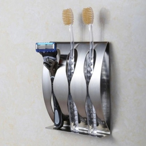 Stainless steel Wall Mount Toothbrush Holder 2 3 Holes Self adhesive Tooth Brush Organizer Box Bathroom