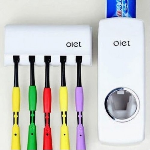 Tooth Brush Holder Automatic Toothpaste Dispenser 5 Toothbrush Holder