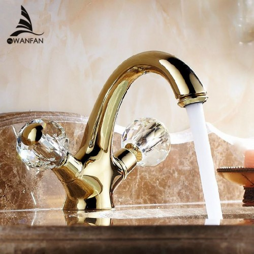 Double Handle Crystal Gold Bathroom Basin Tap Sink Faucet Water Faucet Antique Gold Wash