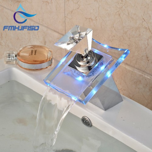 Free Shipping Wholesale And Retail 3 LED Color Changing Glass Waterfall Spout Bathroom Basin Faucet Vanity