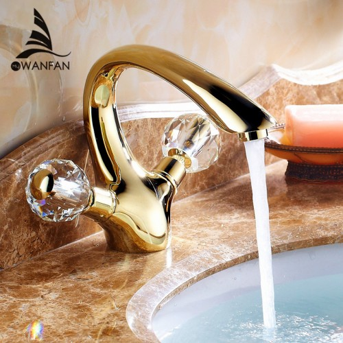 Golden Brass Crystal Handle Bathroom Basin Faucet Tap Toilet Water Faucet Hot Cold Basin