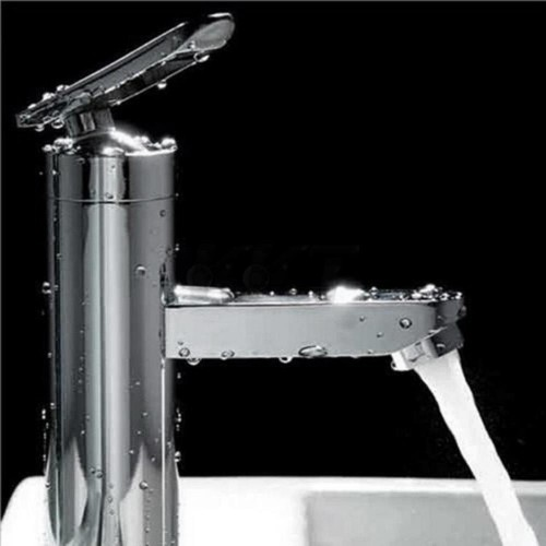 High Quality Brushed Chrome Waterfall Bathroom Basin Faucet Single Handle Sink Mixer Tap