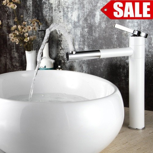 High Quality White Single handle basin Waterfall Brass Faucets Bathroom Faucet Sink Basin Mixer Tap LT