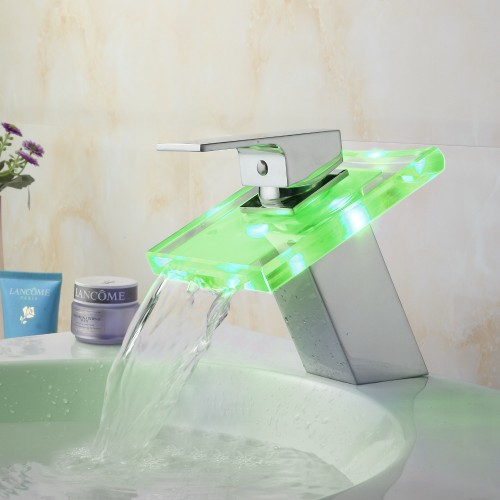 LED Light Waterfall Spout Bathroom Basin Faucet Deck Mount 3 Colors Change Led Tap Water Power