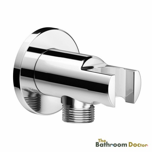 Round Chrome Bathroom Wall Connector Bracket Shower Wall Outlet for Hand Held Mixer Shower Head Hose