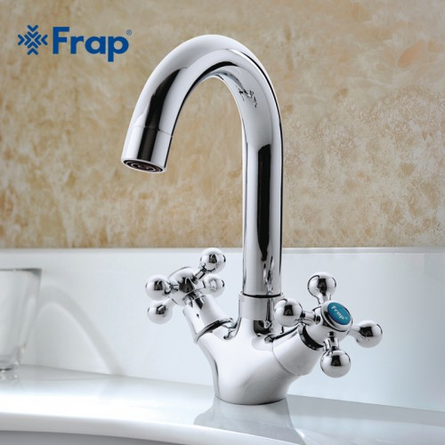 Silver Bathroom faucet Dual Handle Vessel Sink Mixer Tap Hot and cold separation switch
