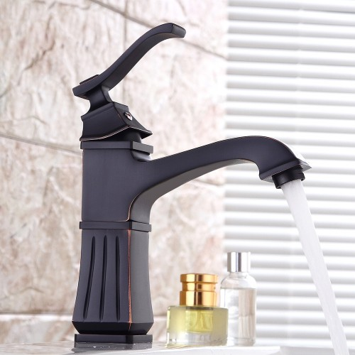 Single Handle Bathroom Black Carve Brass Basin Faucet Crane Tap Brush Nickel Water Tap Home Water