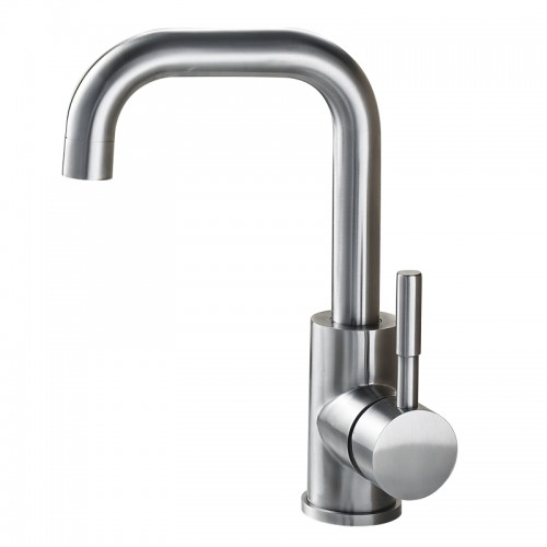 Single Hole Bathroom Basin Faucet Hot Cold Water Tap High Class Brushed Nickel Deck