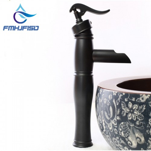 Solid Brass Oil Rubbed Bronze Waterfall Bathroom Basin Faucet Sink Mixer Tap NEW