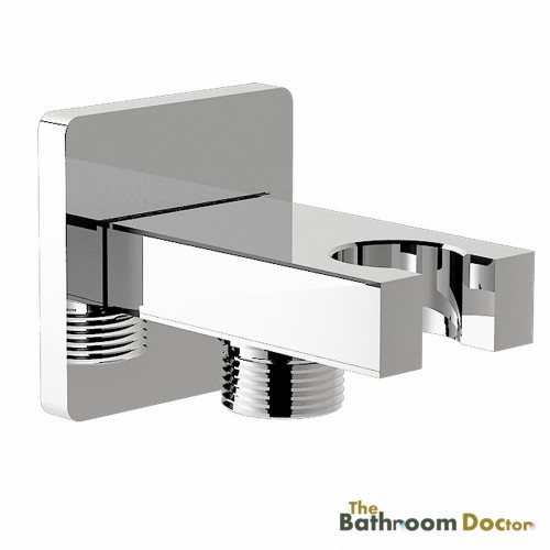 Square Chrome Bathroom Wall Connector Bracket with Shower Head Holder 04 010