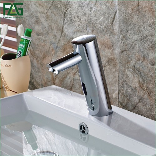 Water Saving Basin Faucet Chrome Cast Battery Power Automatic Infrared Sensor Cold Faucet Touch Free Faucets