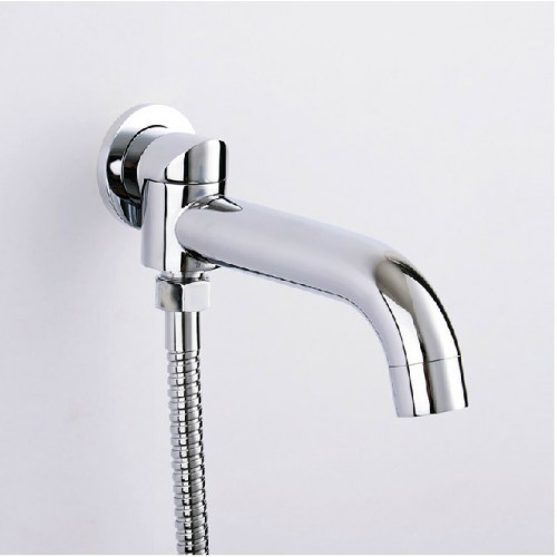 With Diverter 2 Way Outlet Swivel Spout Round Wall Mounted Mixer Tap Brass Faucet HJ 3002