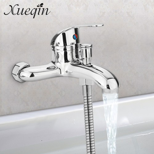 Zinc alloy Basin Faucets Chrome Wall Mounted Hot Cold Water Dual Spout Mixer Tap Faucet