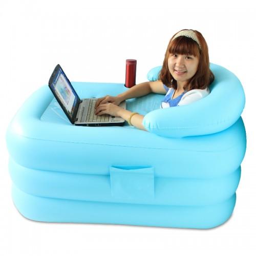 Heat preservation thickening inflatable bathtub folding bathtub tub bath bucket 115x80x50cm