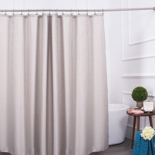 Aimjerry Eco friendly Grey Waterproof Fabric Bathroom Bathtub Shower Curtain Clear Liner With 12pcs Hooks