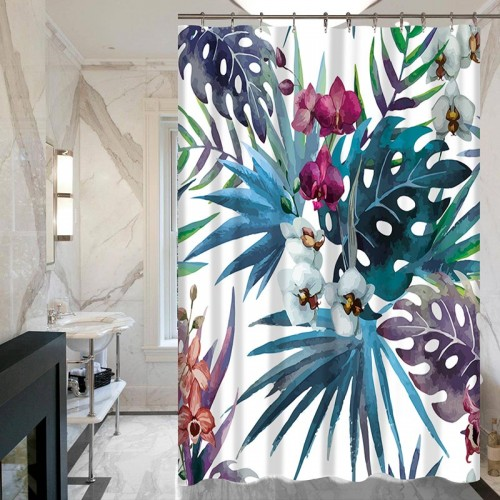 New 3d Shower Curtains Tropical plants green leaves Pattern Does Not Fade Polyester Waterproof Thickened Bathroom