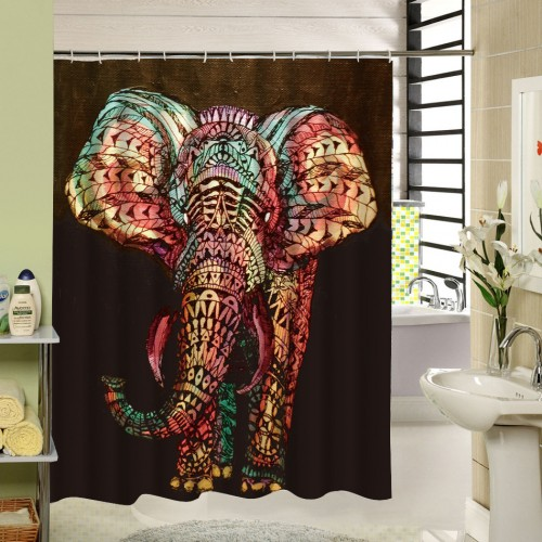 New High Quality Elephant Printing Shower Curtain 3D Polyester Fabric Waterproof Mildewproof Bathroom Curtain