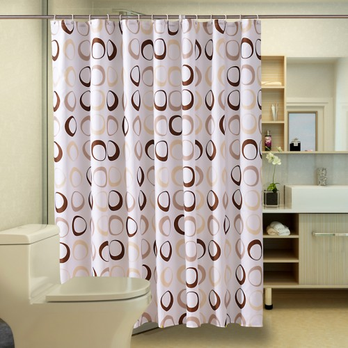 Popular Bathroom Curtains Coffee Big Circle Sea Life Waterproof Shower Curtain Fabric Polyester Bath curtains with