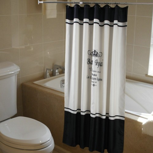 Royal Crown White Fabric Bathroom Shower Curtain Liner w Hooks Polyester waterproof bathroom