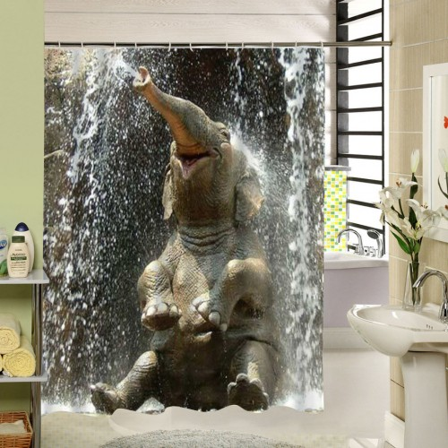 Sale Elephant The Shower Curtain Rideau De Douche Polyester Printing Fabric Bath Custom Curtains Liner Waterproof