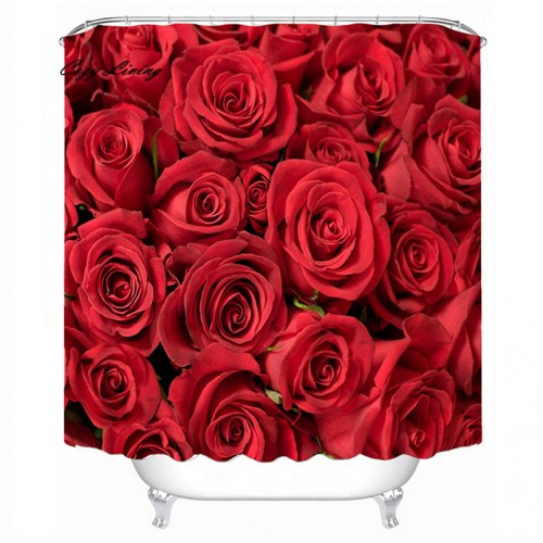 Scenic Shower Curtains 150 180cm Roses Waterproof Polyester Bathroom Shower Curtain Decor With Hooks Bathroom Curtains