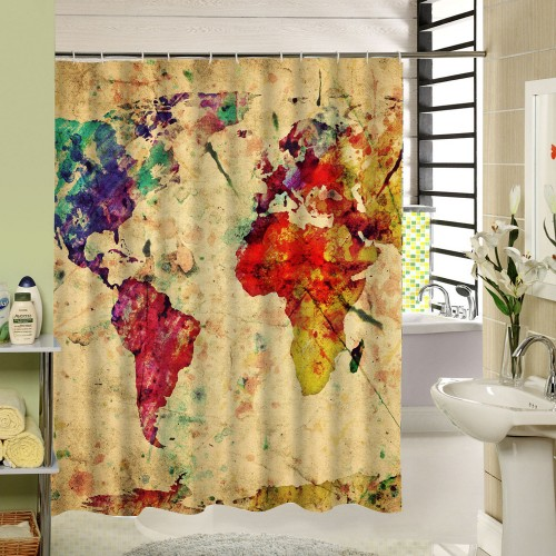 Shower Bath Curtains World Map Shower Curtain Yellow Vintage Painting Pattern 3d Curtain for Bathroom Product