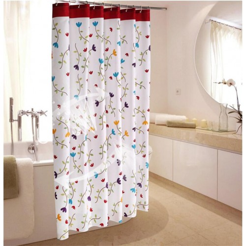 Shower Curtain 100 fabric Polyester high Quality New Design flower Bath Curtain For Bathroom Living Room
